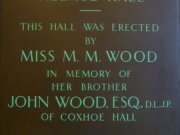 Plaque (Miss M. M. Wood)