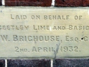 Stone laid on behalf of the Steetley Lime & Basic Co. Ltd.