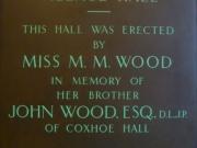 Plaque (Miss M. M. Wood)