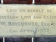 Stone laid on behalf of the Steetley Lime & Basic Co. Ltd.